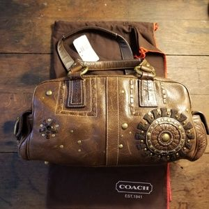 Coach Mia Distressed Leather Satchel